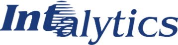 Intalytics logo (in blue).