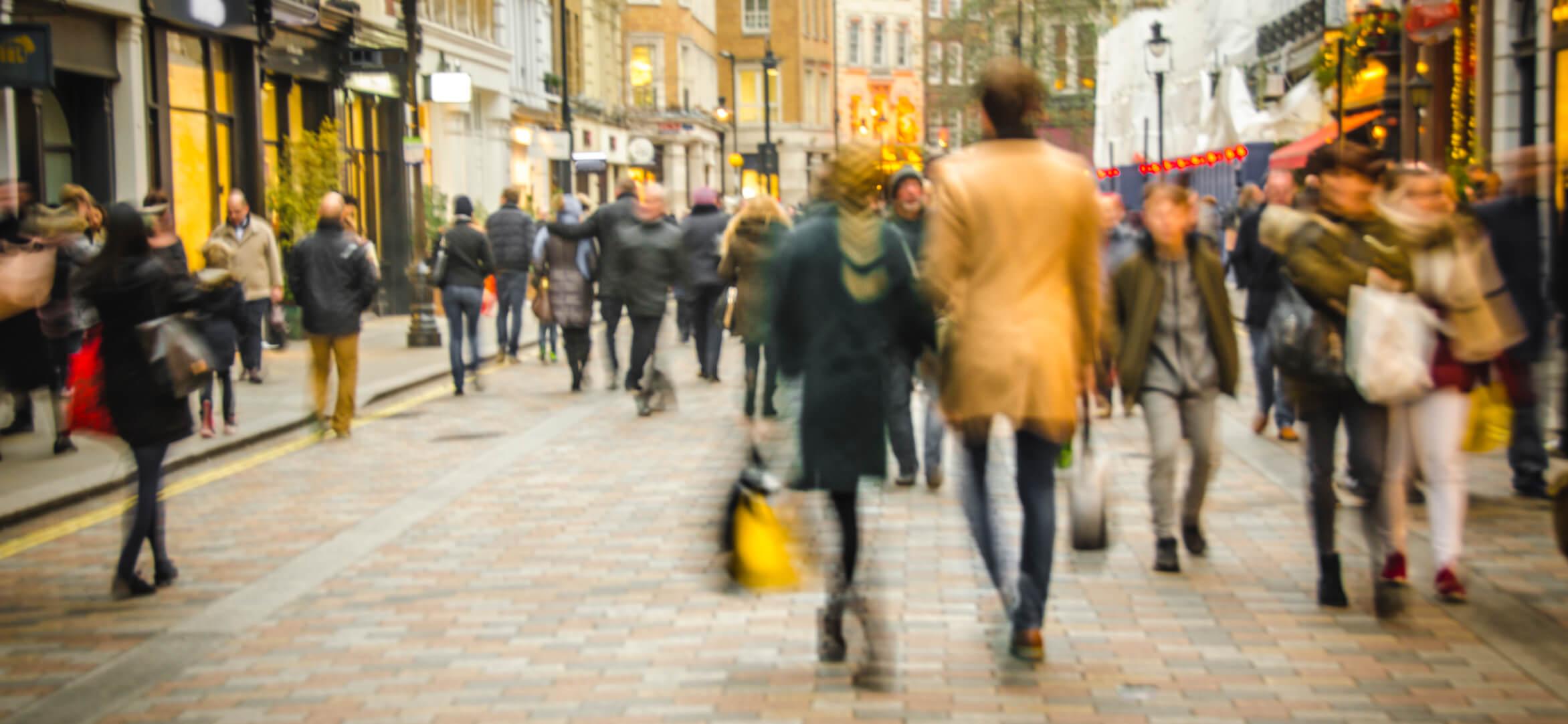 People walking downtown.