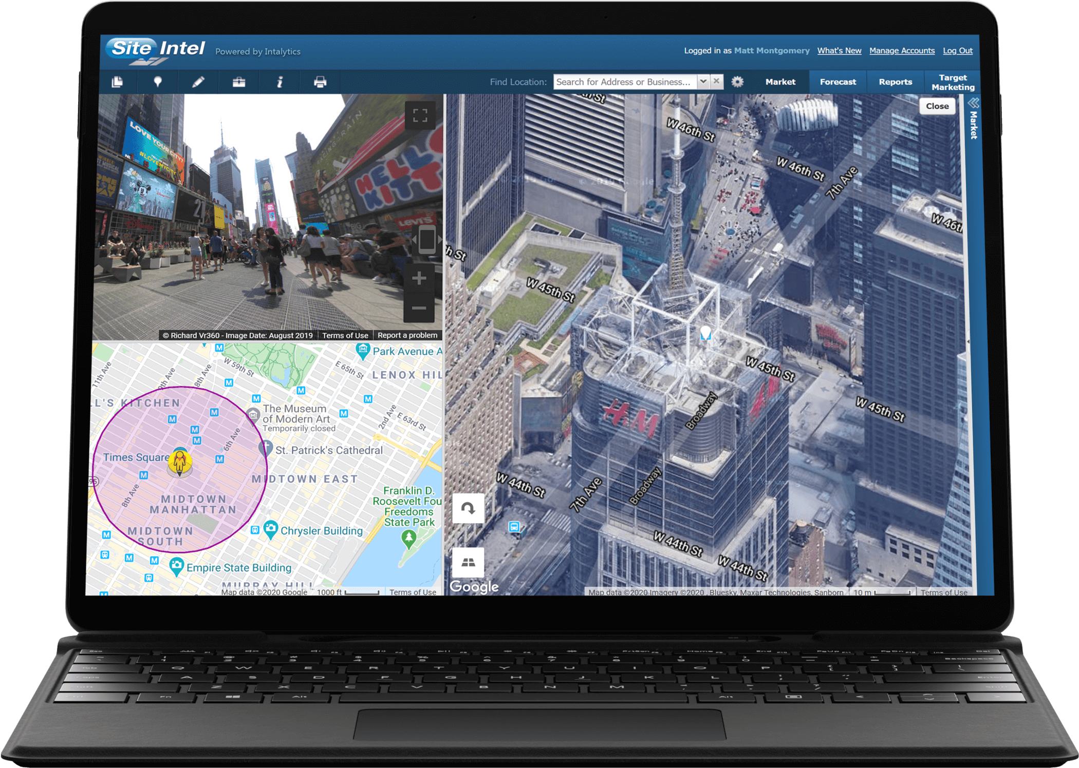 Tablet device and keyboard with map from Site Intel program on the screen.