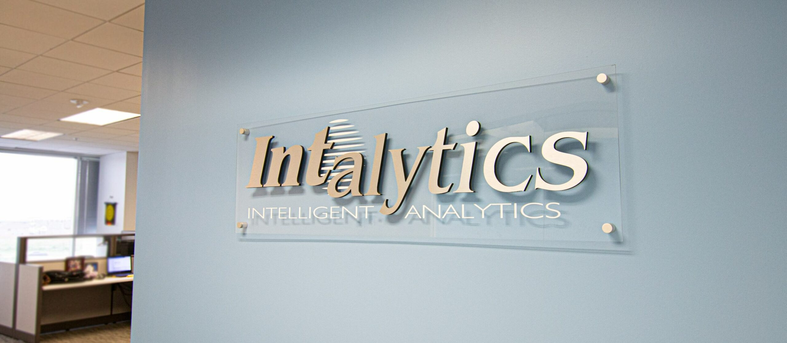 The Intalytics sign in the entry way of the Intalytics office.