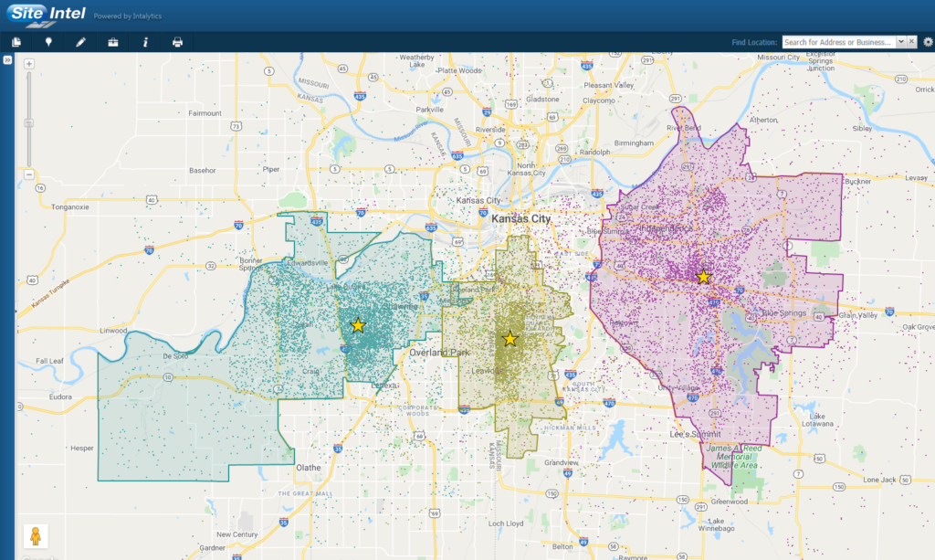 Trade areas with customer dots in the Kansas City market